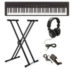 best digital piano | Yamaha P45B Digital Piano with Knox Double X Keyboard Stand, Full-Size Headphones, and Sustain Pedal